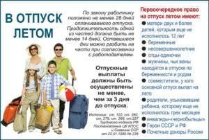 Категории граждан имеющие правобрать отпуск летом